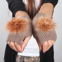 Autumn and winter yarn gloves women's short design rabbit fur ball knitted semi-finger gloves lovely paragraph