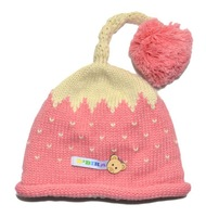 1 Piece Retail Free Shipping Strawberry Little Heart Pattern Crochet Baby Hats With Tails Red Pink Beige Color Children Caps