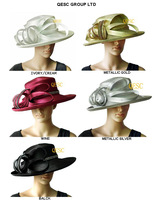 All Year Around Kentucky Derby Hat Formal Dress Church Hat with Rhinestones.cream,wine,black,silver and gold color.