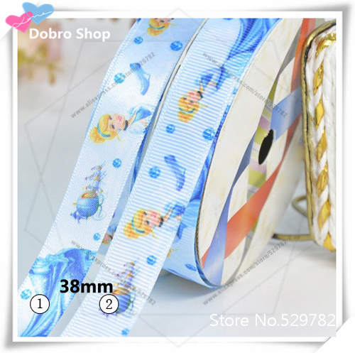 """1-1/2""""38mm Lovely Snow White Princess Printed Grosgrain/Satin Ribbon(blue) for Children,Hair/Garment/Baby Accessories(China (Mainland))"""