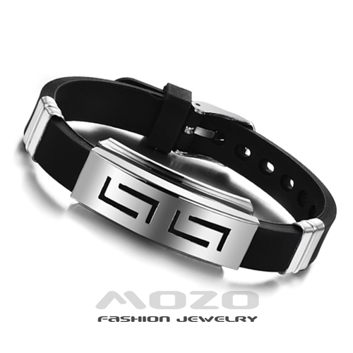 Wholesale 2014 New Fashion jewelry Silicone Rubber Silver Slippy Hollow Strip Grain Stainless Steel Men Bracelet Bangle PH806(China (Mainland))