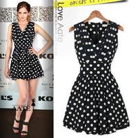 Free shipping The new European and American wave dot  folds Slim sleeveless dress D0017 vestido delgado