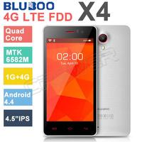 HOT 4G LTE Phone 4.5 inch BLUEBOO X4 Smartphone MTK6582M Quad Core 1.3GHZ 1GB RAM 4GB ROM FDD-LTE/WCDMA/GSM 3G GPS Cell Phones