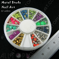 3D Nail Art Decoration Metallic Metal Studs 12 Colors  2-6mm Lead & Nickel Free