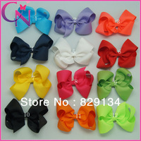 "12 pieces/lot 5"" Hair Bows Solid Grosgrain Ribbon Hair Bow For Girls Boutique Handmade Hair Bow Hair Clip CNHB-1306023"