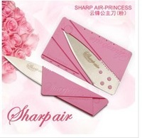 Free shipping [Pink Cardssharp Knife] New arrival novelty folding credit card knife/ fruit knife/ multi survival tool