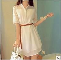 new 2014  half sleeve chiffon one-piece dress women's plus size loose button OL women dress drop shipping