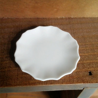 9 pcs/lot White Scalloped Plates Dish 3.5 cm Doll House Miniature Kitchen MC017 free shipping