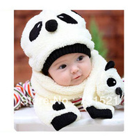 Winter children's hat & scarf set (a hat & a scarf), panda, double layer of short plush, children's gift, Christmas gift
