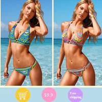 2013 Brand Red elegant beach bikini Push up swimsuit VS circle swimwear the bathing suit for women Freeshipping