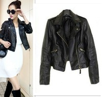 2013 ZA Spring New Women's European and American Motorcycle PU leather short Slim jacket Notched Lapel Punk Outwear Freeshipping
