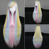 Cheap and best quality 90cm Long Multi-Color Beautiful lolita wig Anime cosplay wigs + free shipping wig cap