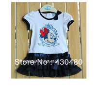 Hot Sale! O-Neck Short Sleeves Bow Decor Cartoon Minnie Mouse Print Tiered Skrit Child Kids Tutu Layered Dress Free Shipping