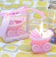 Free shipping for Children birthday party gift, Wedding candle,birthday candle,Smokeless candle with Baby-car Candles(Blue/Pink)