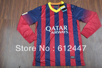 #10 MESSI & #11 NEYMAR & #8 Iniesta Barca Home Long Sleeved Jersey 2013/14,Top quality, Player Version,free printing