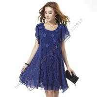 New 2014 Summer Korean  Fertilizer Plus size Quality Large ladies Lace Fat MM Thin Chiffon dress