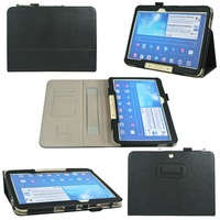 Hand strap Cover case For SAMSUNG Galaxy tab 3 tab3 10 1 10.1  p5200 P5210  fold wallet Card  PU leather protective cases + pen