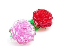 3D Crystal Puzzle Jigsaw Model DIY Rose IQ Toy Furnish Gift Souptoys Gadget+Free Shipping