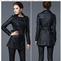 Free Shipping!Autumn Winter Europe Motorcycle Jacket.Big Size Female Medium-Long Black Windbreaker Waistband PU Leather Jacket.