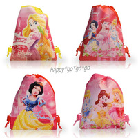 Guaranteed 100% - 12Pcs for Princess Drawstring Backpack Kids School  Bags HandBags,Non-woven,Party Favor ,Girl gifts