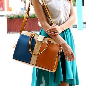 2014 New arrival candy color handbag cross-body women's bag Fashion PU leather plaid Office lady  handbag  messenger bag B9496
