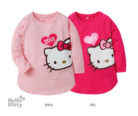 2013 New Autum T-shirts for girls Kids long Sleeve hello kitty t shirts children's kitty tops Drop Shipping