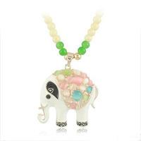 Elegant imitation white jade chain Korea animal elephant imitation cat's eye jewelry Free shipping HeHuanXLY008