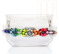 2013 shourouk rainbow colored gem transparent PVC women handbags shoulder bag crystal jelly candy day clutch free shipping