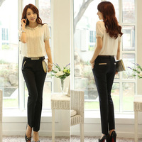 Free Shipping women's sexy fashion D450 2014 summer plus size suit pants long trousers female casual pants straight pants