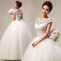 2013 slit neckline lace sweet princess sexy wedding qi hs290
