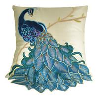"Modern Luxury Fashion Vivid Fancy Peacock Embroidery Decorative Throw Pillow Case Cushion Cover Sham 16"" x 16"" (41CM x 41CM)"