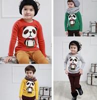 Free Shipping Hot 5pcs/lot Kids girls Fashion PANDA T shirts kids girls fashion clothes Tee spring Autumn long sleeve clothing
