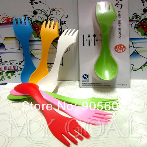 6x Spoon Fork Knife Camping Hiking Utensils Spork Combo Gadget Cutlery Travel(China (Mainland))