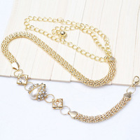 Fashion Pearl Rhinestone Beetle Designer Gold Metal Chain Belt Waistband for Women Ladies 1081