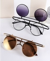 Popular Jewelry Harajuku Street Style Eyeglasses Fashion Star Models Retro Glasses Alternative Punk Metal Round Frame Sunglasses