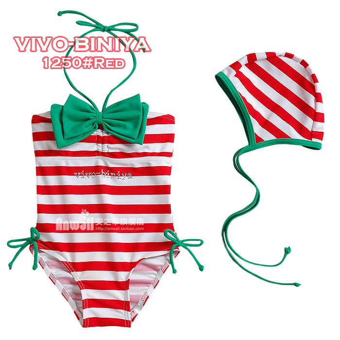 High quality 2014 kid's striped swimwear girl's babies summer beachwear swimming cap baby one-piece bathing suit 1-6 age girls(China (Mainland))