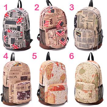 Vintage US UK Flag Newspaper Map Backpack Bookbag Travel Sports Shoulder Bag New Free shipping & Drop shipping  JX0185
