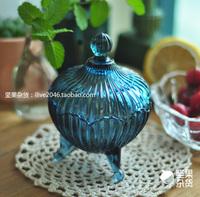 Blue magic zakka sucrier glass lid storage tank candy jar sugar bowl