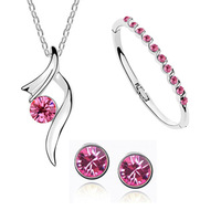 Stars recommended set of accessories wholesale Austrian crystal necklace + earring, bracelet A31+B113+E27