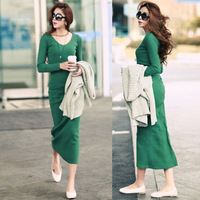 2013 Autunm women's knitted cotton elastic slim dress sexy O-Neck Long-Sleeve basic pencil Dresses Black/Green Free Shipping