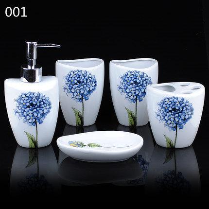 cina buoni prodotti vendita calda lusterware home bagno 5 pezzi ortensia blu coppa spazzolino da denti spedizione gratuita