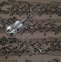 10PCS Vintage Silver VIOLIN Music Charms Choker Chain Necklaces &Pendants Fashion Jewelry DIY For Women Free Shipping L263