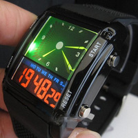 Fashion designed Double Movement Colorful LED Analog and Digital Men Unisex Wrist Watches Free Shipping