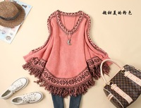 free shipping 2014 new women long dress blouse tassel novelty retro bat sleeve for women fashion famous brand  autumn winner