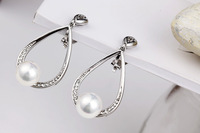 2014 New Trendy Rhodium Pearl Clip Earrings With Rhinestones TE-12121, Free Shipping Women Earring