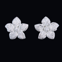 Free Shipping 2014 New Fashion High Quality Platinum Plated Cubic Zirconia Diamond Crystal Bauhinia Flower Stud Earrings
