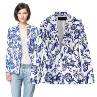 Fashion 2013 autumn new arrival  blue and white porcelain ceramic print casual suit outerwear female