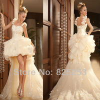 Fashion Wedding Dress 2013 Custom Made Sweetheart High/Low Beading Tulle White Wedding Gown Dress