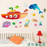 Bathroom dolphin SUBMARINE three generations of wall stickers decoration AM009 Free Shipping