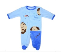 Hot sale Baby Velour Long Sleeve Romper with Embroidery Applique,0-3,3-6,6-9,9-12months